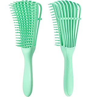 2 Pieces Detangling Brush for Afro America/African Hair Textured 3a to 4c Kinky Wavy/Curly/Coily/Wet/Dry/Oil/Thick/Long Hair, Knots Detangler Easy to Clean (Light Green)