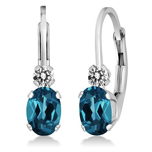 - 1.07 Ct Oval London Blue Topaz White Diamond 14K White Gold Earrings