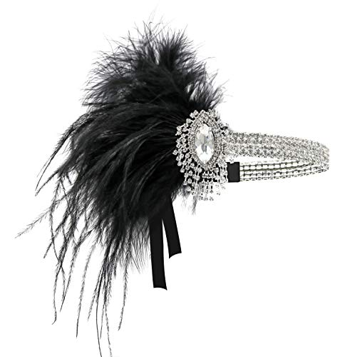 (1920s Gatsby Flapper Feather Headband 20s Accessories Roaring 20s Headpiece with Peacock Feather)