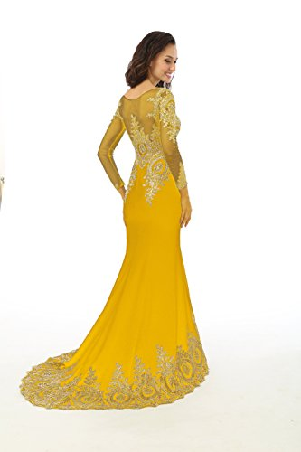 Evening Gown Sleeve Annie's Formal Yellow Mermaid Dresses Prom Bridal Long t8xpwqnRv