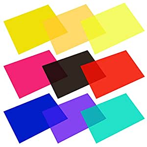 eBoot 9 Pieces Gel Filter Transparent Color Film Plastic Sheets Correction Gel Light Filter, 11.7 by 8.3 Inches, 9 Colors