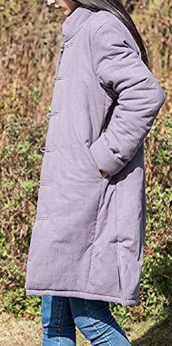 Outwear Exteriores Laisla Otoño Elegantes Fashion Mujer Invierno Estilo Vintage Cuello Prendas Etnica Chaqueta Larga Grau Outdoor Stand Anchas Chaquetas Abrigos Mujeres Informales Clásico Manga rEqE1