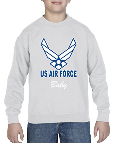 Ugo US Air Force Baby Aim High Fly-Fight-Win Support USAF Matching Couple w Mama Papa Baby Shower New Mom New Dad New Born Unisex Youth Kids Crewneck Sweater Clothing