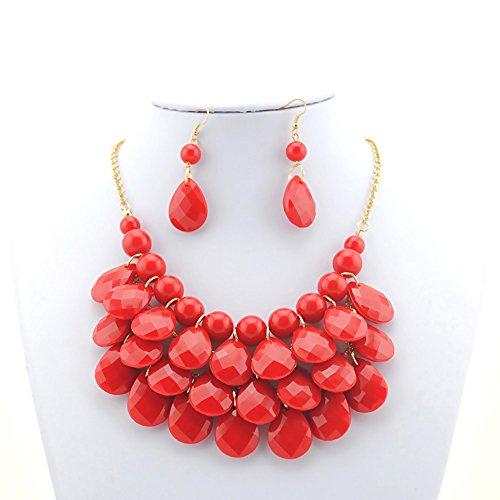 [Easykan Women's Alloy Chain Acrylic Chunky Statement Bib Necklace Earrings Set (Rose) 18