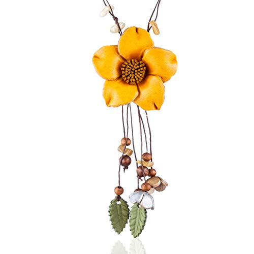 Coostuff Handmade Genuine Leather Flower Pendant Necklaces Plant Jewelry Long Necklace Women for Women Gift Colar Choker (Yellow)