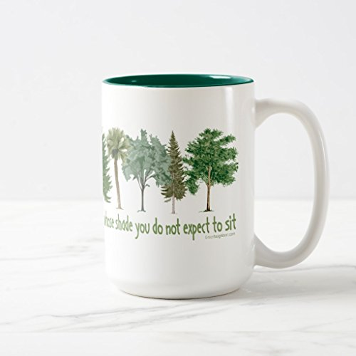 Zazzle Plant Trees Mug, Hunter Green Two-Tone Mug 15 oz Shade Plants Trees