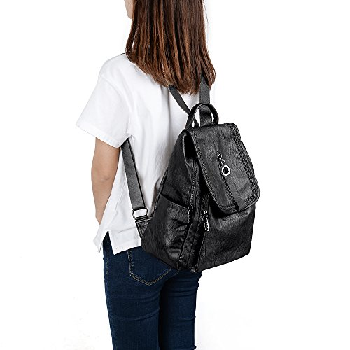 Zipper Rucksack Shoulder Black UTO PU Ladies Women Pockets Bag Purse Washed Backpack Flapover Leather ZUCnSxYwUq