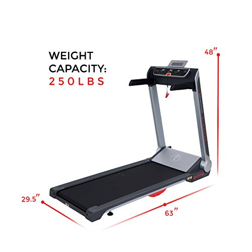 Sunny Health & Fitness Motorized Folding Running Treadmill with Wide Base, Portable, USB, Aux, Flat Folding & Low Profile - Strider, SF-T7718, Black by Sunny Health & Fitness (Image #12)