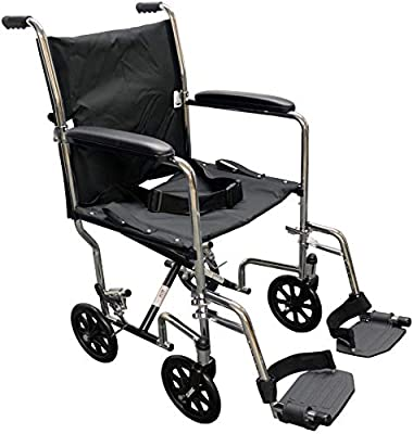 """Alco 20"""" Chrome Transport Wheelchair (Rust & Chip Resistant Chrome Plating) 300 lb. Weight Capacity. Swing Away Footrests with Heel Loops, Black Nylon Upholstery. Seat Belt Included"""