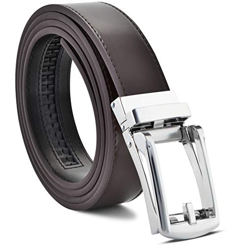 Ratchet Belt Men's Belt Genuine Leather Custom Fit Automatic Buckle No Hole ()