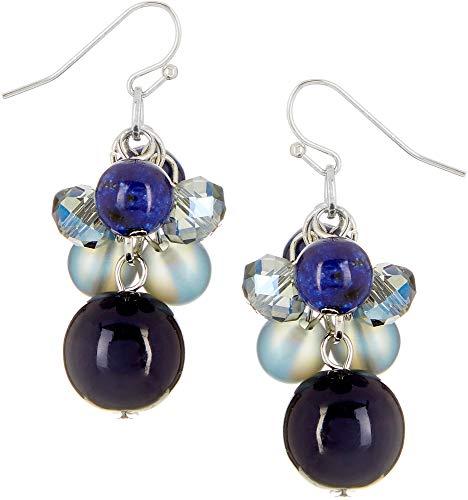 Bay Studio Blue Glass Bead Cluster Drop Earrings One Size Blue/silver tone