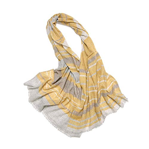 - Silk Scarf for Women Pure Wool Scarf Ladies Worsted Striped Autumn and Winter Shawl Tassel Color Warm Bib Lightweight Satin Shawl Wrap Headscarf (Color : Yellow, Size : One Size)