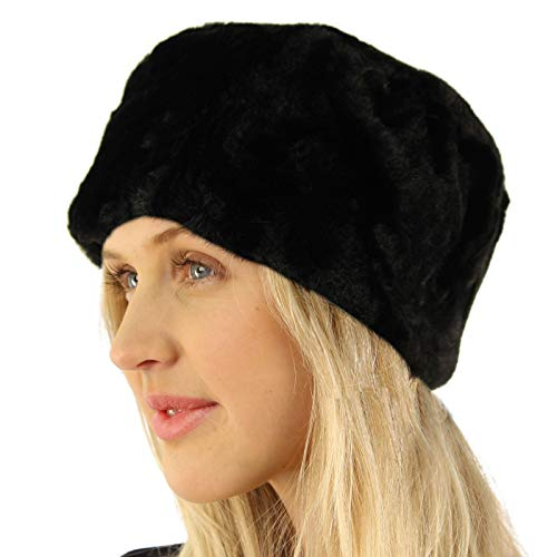 Faux Fur Cloche - Something Special Winter Faux Fur Thick Pillbox Cloche Bucket Qulited Lined Beanie Hat Black