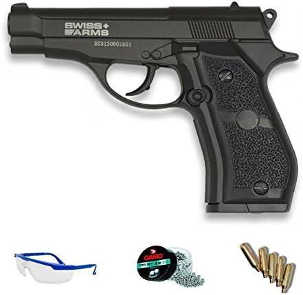 Pack Swiss Arms P84 - Pistola de Aire comprimido (CO2) y balines de Acero (perdigones BBS) Calibre 4.5mm. Réplica Beretta 84 <3,5J