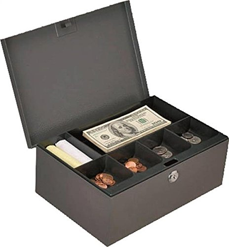 Welded Box - Rocky Mountain Goods Extra Deep Cash Box with Key Lock - 2 Keys Includes - Six Compartment Tray - Full length hinge - Carrying Handle - Welded Steel Construction