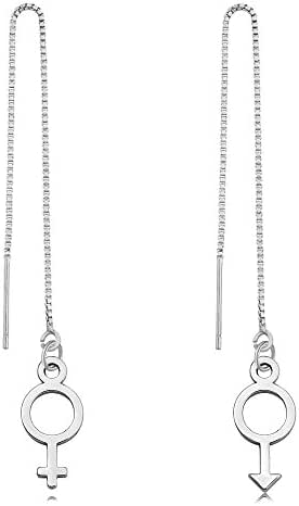 TUSHUO 3 Colors Plating Simple Dangle Style Gender Earrings Male and Female Symbols Earrings