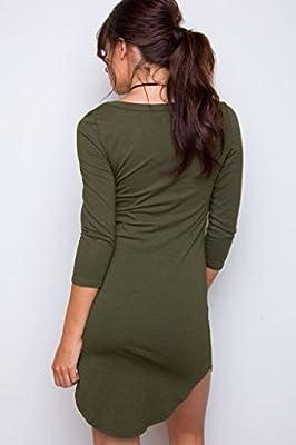 DREAGAL Women's 3/4 Sleeve Irregular Hem Shirt Dress