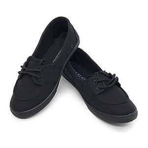 Blue Berry EASY21 Women Canvas Round Toe Slip on Flat Sneaker Oxford Boat Shoe