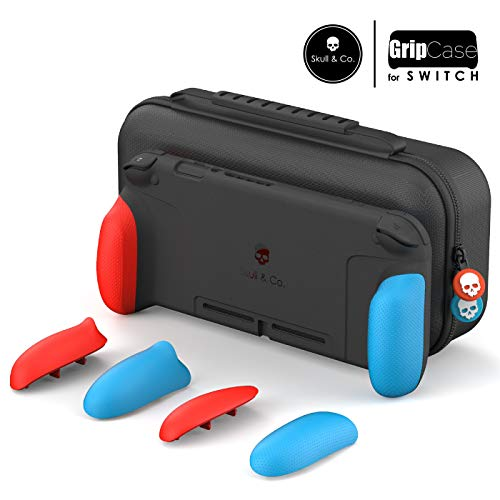 Skull & Co. GripCase Set: A Dockable Protective Case with Replaceable Grips [to fit All Hands Sizes] for Nintendo Switch - Neon Red & ()