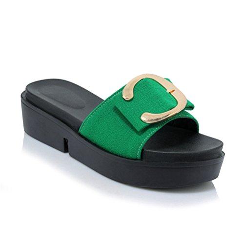 épaisses sur air Plate Sandales à Femmes Forme Glissière Glisser Plein la Vert Plates Confortables Les Bas Ouverte Chaussures en Wedge Zv4Xq