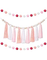 kitbooly Boho Tassel Garland Tassel Wall Hanging Decor Pastel Tassel Banner with Wood Beads and 2 Pieces Colorful Pom Pom(C)