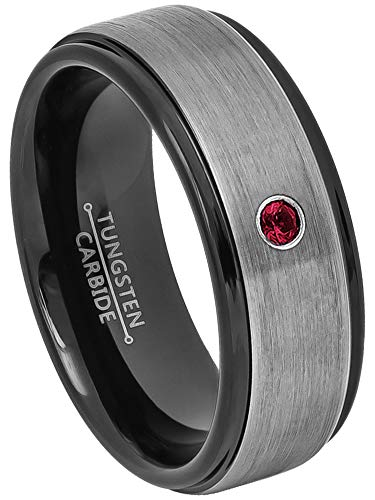(0.07ct Ruby Tungsten Ring - July Birthstone Ring - Brushed Gunmetal Center 2-Tone Comfort Fit Mens Tungsten Carbide Wedding Band, Anniversary Ring -9.5)
