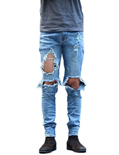 Men's Slim Destroyed Ripped Stretch Holes Distressed Skinny Denim Jogger Jeans 36