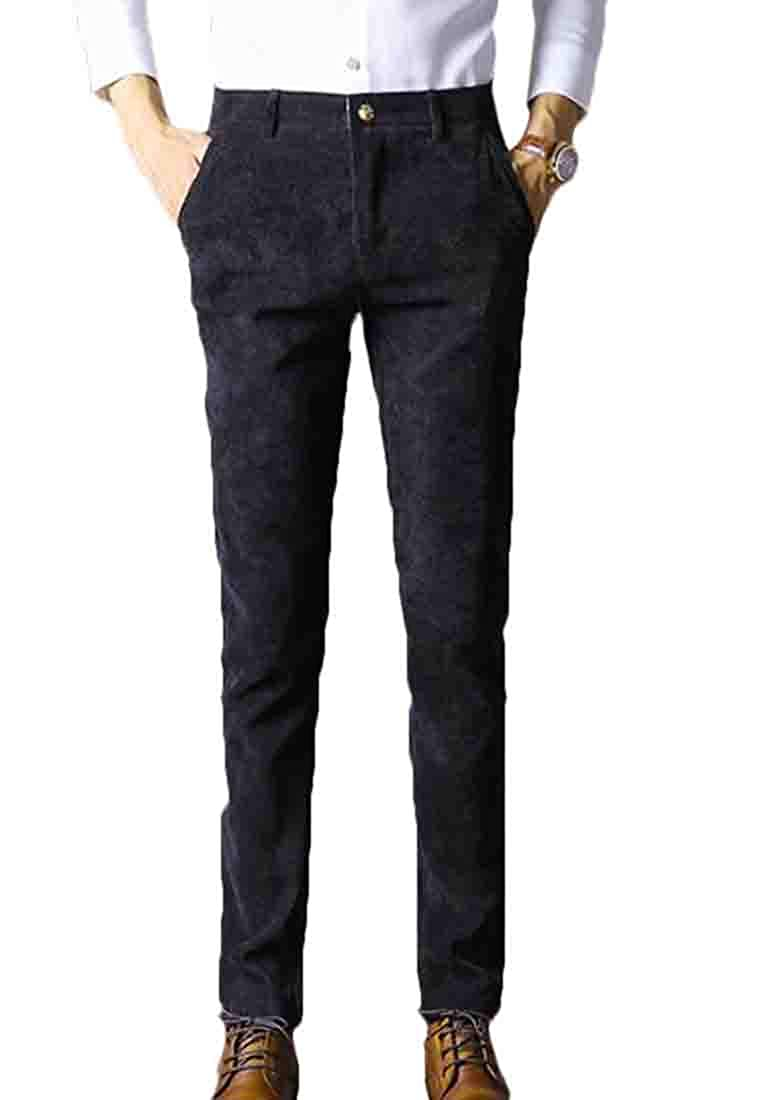 GRMO Men Winter Mid Waist Solid Wool-Lined Corduroy Harem Joggers Pants