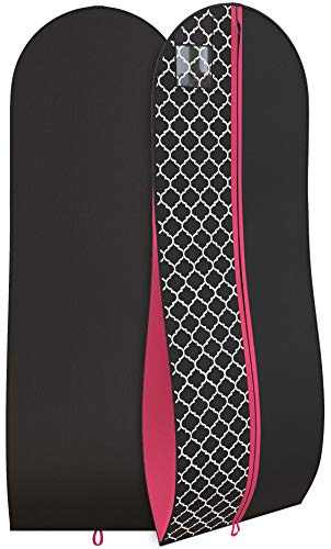 """(Women's Dress Gown Garment Bag -72""""x24"""" and 10"""" Tapered Gusset -Black/Fuchsia)"""