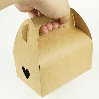 Mannily - 20 unidades de cajas de papel para galletas de papel, color marrón,
