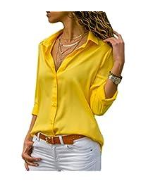sandanper - Blusa de chifón con Botones y Cuello en V de Manga Larga para Mujer