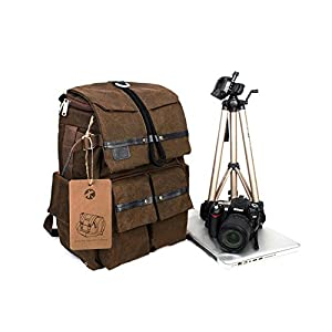 "BESTEAM Waterproof Canvas DSLR SLR Camera Laptop Backpack Bag Rucksack For Cannon Nikon Apple Asus Lenovo 45x18x30cm Laptop Size Support 15"" Max"