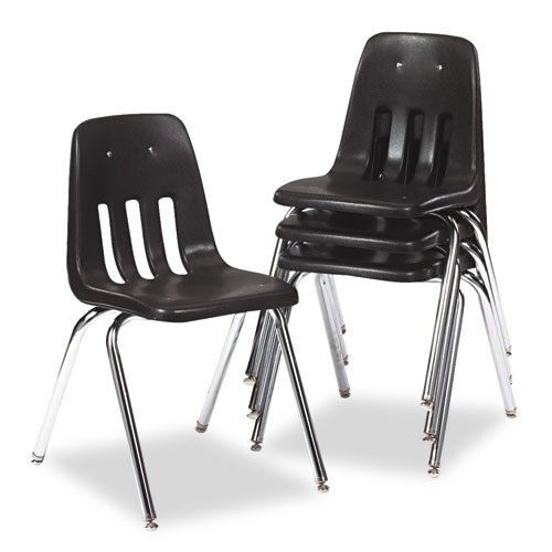 Virco Student Chair, Black, Soft Plastic Shell, 18'' Seat Height, Chrome Frame, for 5th Grade to Adults, 4 Pack (9018-BLK01) by Virco