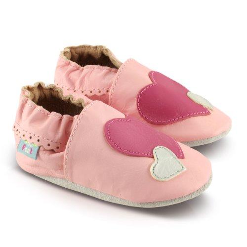 Snuggle Feet Babyschuhe Leder weich - Pink und Silber Herzen | 18-24 Monate