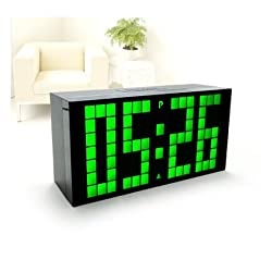 RioRand™ Ultra Large Big Number Jumbo LED Snooze Wall Desk Alarm Clock with ultra narrow frame design- Green Light?size:170mm85mm55mm)