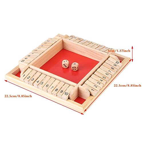 Shut The Box,1-4 Players Shut The Box Game Wooden Classic 4 Sided Board Game with Dice,Flip Me Game for Adults ,Classics Tabletop Version 10 Numbers Traditional Wooden Pub Bar Board Game