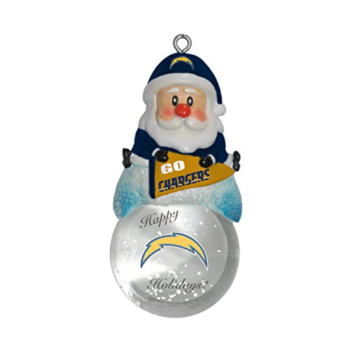 San Glass Diego Chargers Topperscot - NFL San Diego Chargers Snow Globe Ornament, Silver, 1.5
