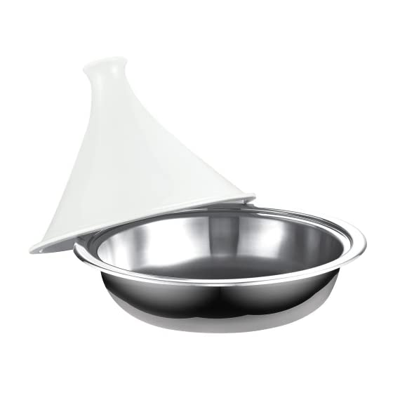 Cooks Standard NC-00360 Multi-Ply Clad Stainless Steel Tagine with Extra Glass Lid, 4.5-Quart 3 Multi-ply clad has 2 layers of stainless steel and an aluminum core along base and walls Stainless steel for durability and appearance; Aluminum core for even/quick heat distribution Not a clay pot so it will not crack and no heat diffuser needed; Tempered glass lid included
