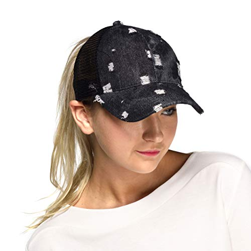 C.C Hatsandscarf Exclusives Messy Buns Damaged Denim Fabric Trucker Hat With Ponytail Baseball Cap BT-8