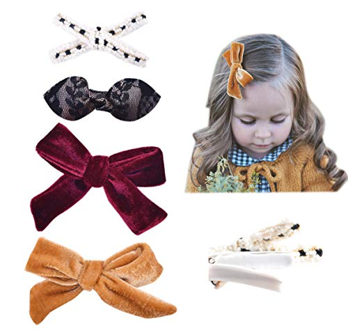 California Tot Baby Toddler Girls' Mixed Bows Clips for Fine Hair, Strong Grip Set of 4 (Luxe Clip Set)