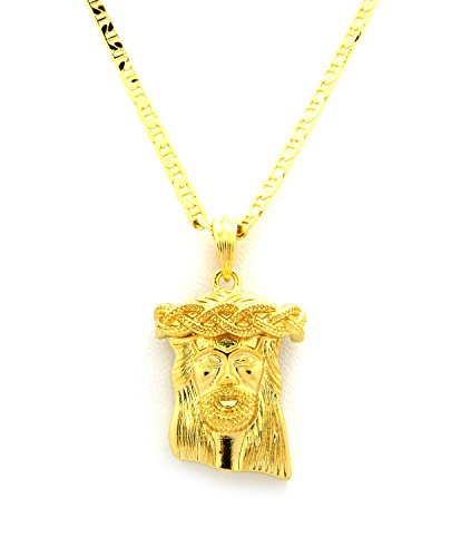 """New JESUS FACE Micro Pendant &3mm/24"""" Link Chain Small Fashion Necklace MMP24GCG"""