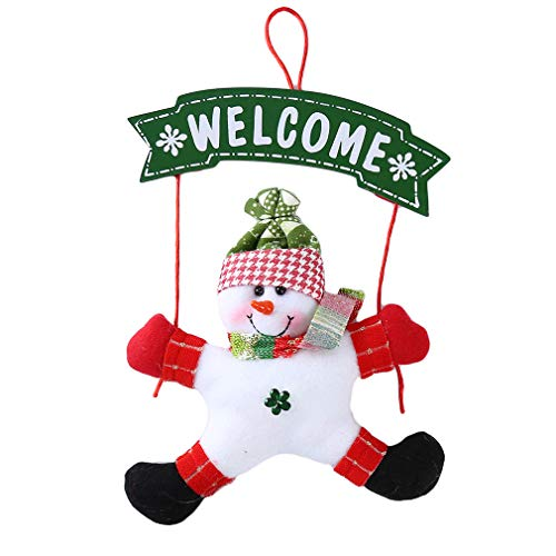 (Essencedelight Christmas Hanging Welcome Sign Wall Plaque Sign Interchangeable Door Hanging Festive Whimsical Decor,Snowman)