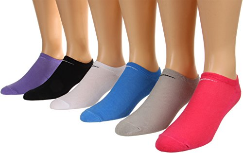Nike Womens Training Lightweight No-Show 6-Pair Pack Black/White/Grey/Pink/Purple/Blue Socks, M (Womens Shoe 6-10)