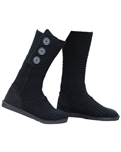 Minetom Mujer Retro Otoño Invierno Botines Tejer de Ganchillo Zapatos Caliente 3 Botones Clásico Cardy Botas Negro