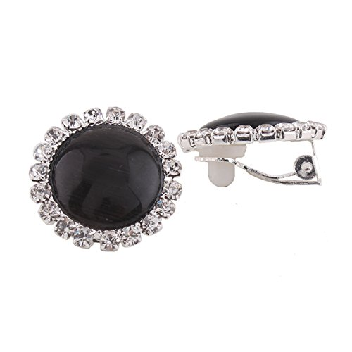 (Rhinestone Opal Round Clip on Earrings Without Piercing for Women Luxury Jewelry (Black))
