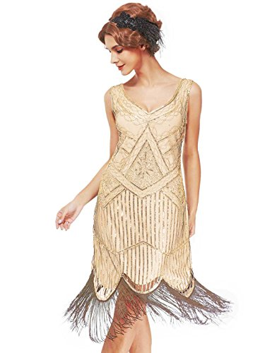 Women's Roaring 20s V-Neck Gatsby Dresses- Vintage Inpired Sequin beaded Flapper Dresses (XL, pure -