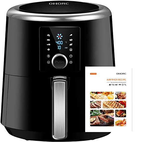 OMORC Air Fryer 6QT(W/Cookbook), Instant Temp/Time Control (for Wet Finger) & LED Touchscreen, 1800W 8-15 Presets for Air Fry/Roast/Bake/Keep Warm, Dishwasher Safe, Nonstick, 2-Year Warranty (ME122)