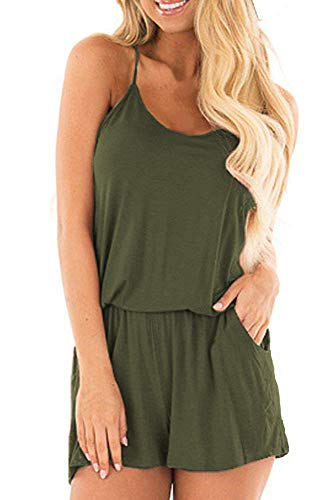 BLUETIME Womens Rompers Summer Casual Beach Spaghetti Strap Outfit Short Jumpsuits (M, Army Green)