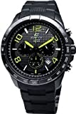 Men's Black Stainless Steel Edifice Chronograph Black Dial Black Rubber Strap