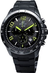 Men's Black Stainless Steel Edifice Chronograph Black Dial Black Rubber Strap by Casio